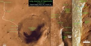 Questo il tracciato del percorso su Marte del Rover Opportunity in 10 anni